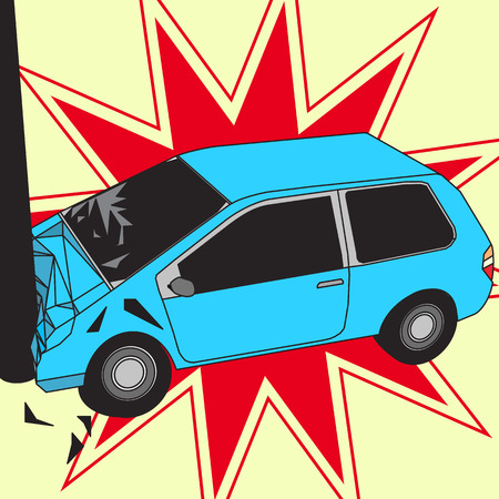 radius: Car Accident With Pole and red radius Vector Illustration