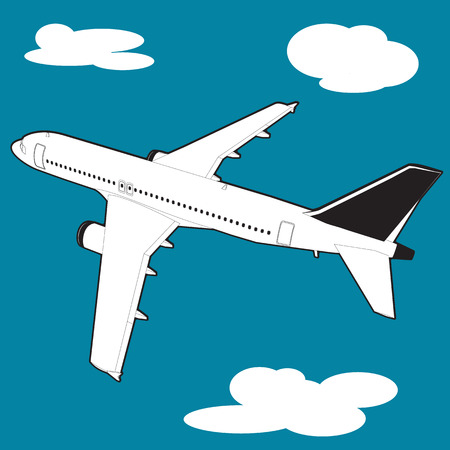 picture of a civilian plane with clouds, flat style illustration