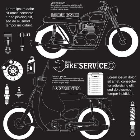 オートバイを描画します。ベクトルの図。編集可能です