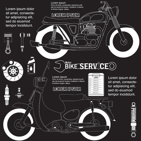 motorcycle drawing. Vector illustration. Editable Çizim