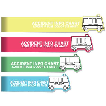 illustration color chart of Ambulance blank ribbon vector  flat style Illustration
