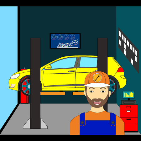 Interior of the inside of the garage to repair a car color illustration