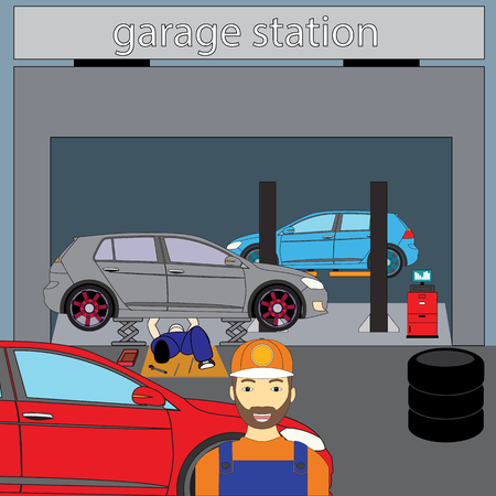 auto mechanic waiting Customers for service from the front of the garage.