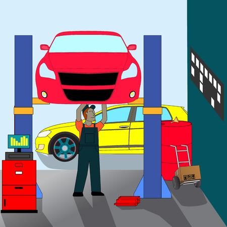 Car mechanic  standing repair under the car service. Illustration