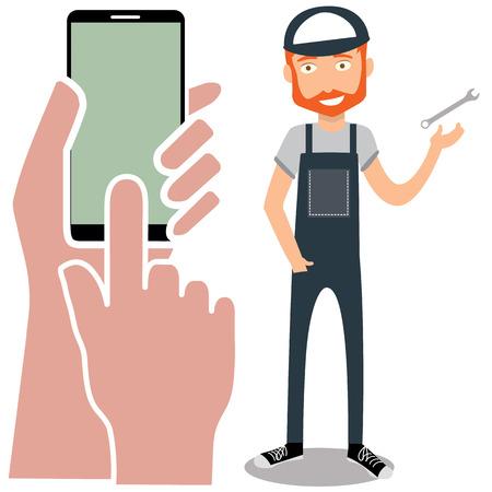 flat design vector illustration smartphone with hands. Repairman service call Çizim