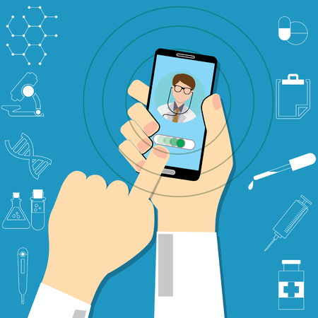 Hand holding smartphone with male doctor on call and an online consultation. Medical icons set. Vector flat illustration.