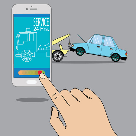 Flat tow truck on smartphone online mobile emergency automobile repair service assistance app concept. 矢量图像
