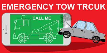evacuate: tow truck on smartphone online emergency repair service assistance application wide concept.