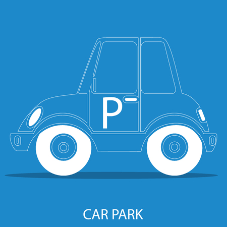 parking icon, isolated, white on the blue background. Exclusive Symbols