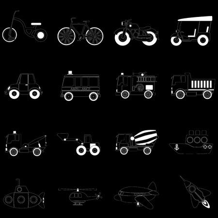 white vehicle icons on black background