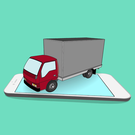 truck with box container on the smartphone. Illustration