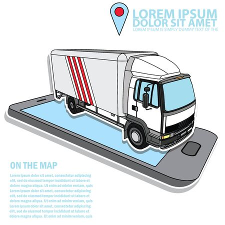 vector delivery cargo truck in transport business firm of the truck Smartphone application. Illustration