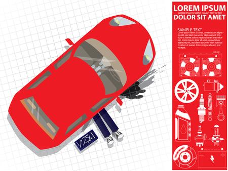 Car repair. Auto mechanic under car. Vector illustration of a flat design Illustration