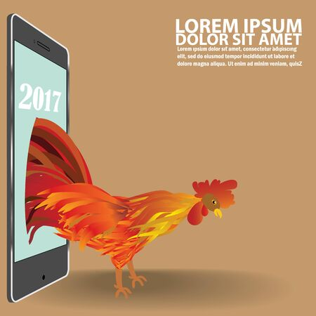 Rooster activists marched from smart phones reflect. The visit of the Rooster year In the form of vector Illustration