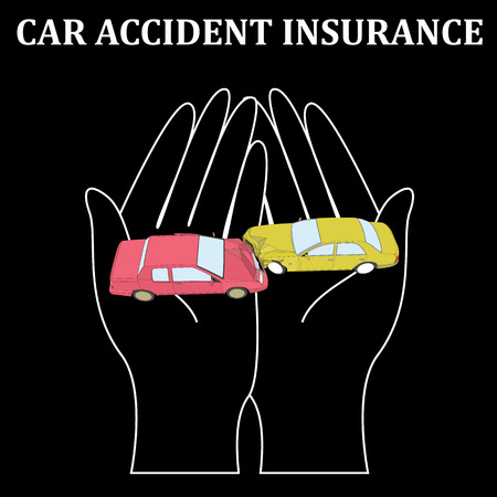 car crash insurance business on softly hand care vector illustration design