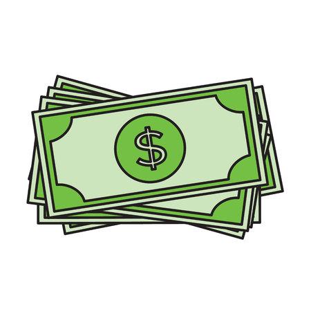 Dollar bills icon. USD currency symbol. Money label.
