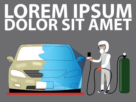 body painting: spray painting auto body at car collision repair shop. Flat style vector illustration Illustration