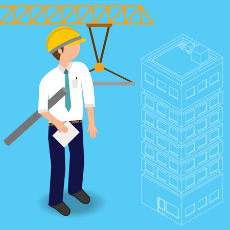 Construction civil engineering land survey engineer Buildings and structures In vector illustration style.