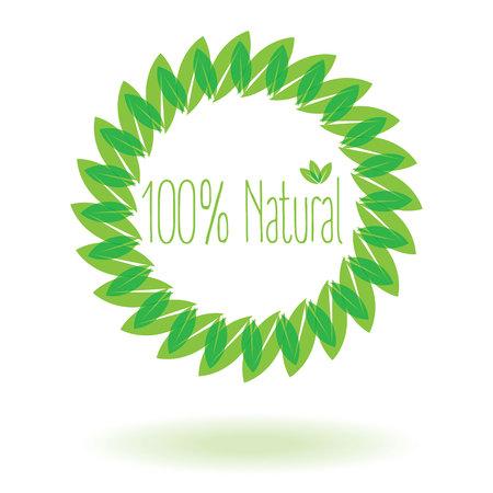 spontaneous: natural 100% with leaf or leaf crescent design vector design