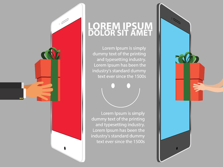 sending: sending happy gift from mobile phone to another smart phone all around people vector illustration