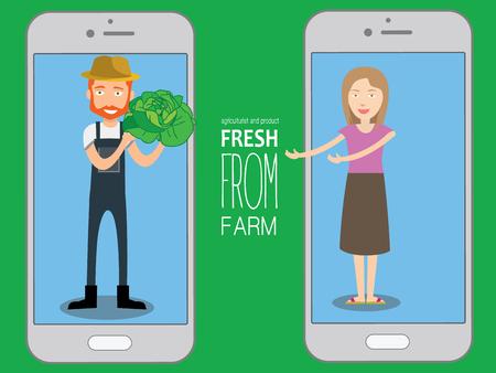 Trade kopers De directe verkoper met verse groenten van boer hand op de applicatie op smart phone, vector illustratie plat design