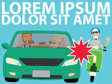uptight vehicle driver and Issue with a Moped. Flat Vector Illustration