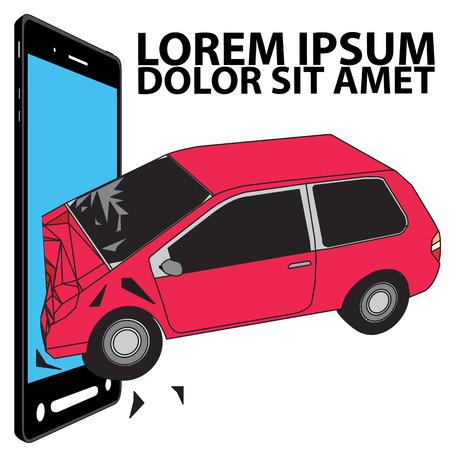 Dont drink Dont use phone and drive concept Car crash illustration Illustration