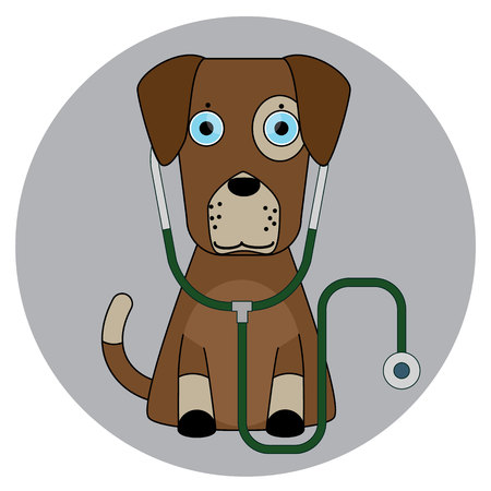 doctoral: Cartoon dog in flat style isolated on background. Veterinary clinic symbol stock vector illustration.
