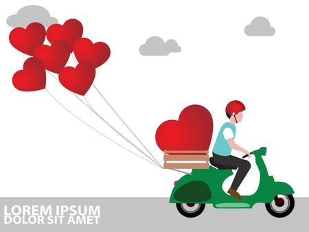 package sending: A man riding a motorcycle to deliver a heart of love, empathy in vector wide  style.