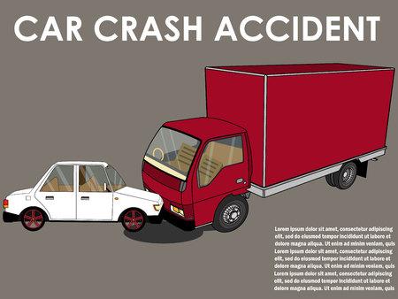 Car crash. cars hit head truck. Flat design.
