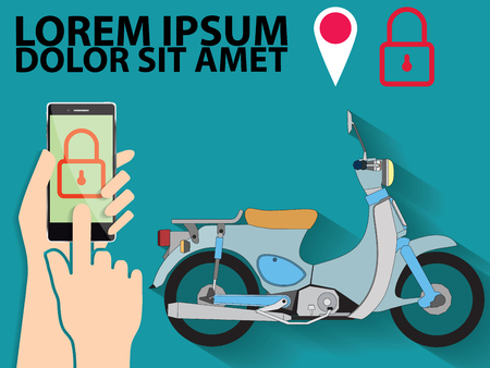 Lock vehicle and trace with mobile phone. Sound alarm, security system.