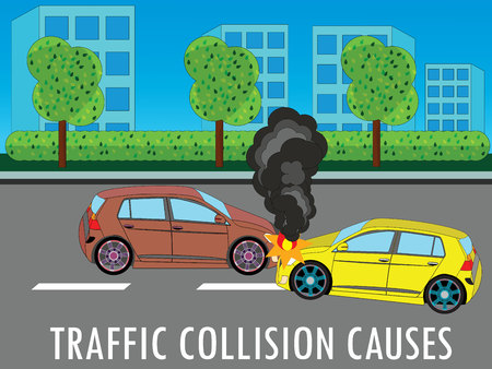 Accident car collided at suburbs on the road. wide Color vector design