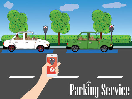 Parking is available along the road with a backdrop of gardens and trees. A human hand holding a smart phone app to enhance the value of paying for the service. wide design