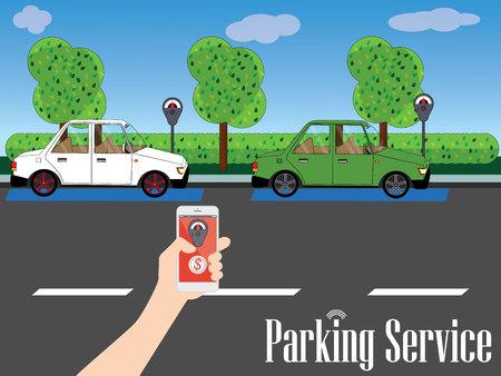 Das Parken ist auf der Straße mit einer Kulisse von Gärten und Bäumen zur Verfügung. Eine menschliche Hand, die eine Smartphone App hält den Wert der Zahlung für den Service zu verbessern. breite Ausführung Standard-Bild - 70984857