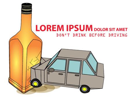decanter: Drunk car accident with alcohol bottle. Car smash decanter