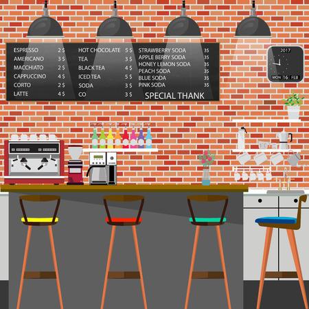 Modern Flat Design Coffee shop Interior Vector Illustration