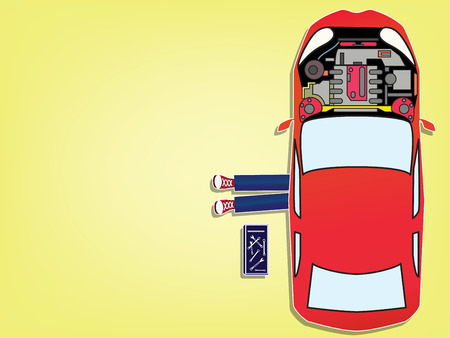Car mechanic lying down under red car doing repair work. Top view. Flat style vector illustration isolated on background.