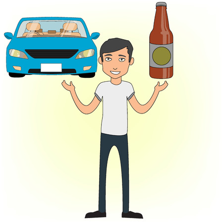 A Man stand debated of his Thinking Between drinking and driving compared to drunk driving concept flat vector design