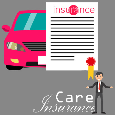 car: transportation insurance and Salesman concept - poster with car documents