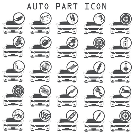 Car mechanic with flat icons tools and spare partst.