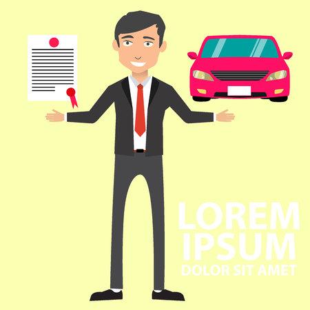Assurance transport et concept de propriété - homme avec documents automobiles à l'extérieur