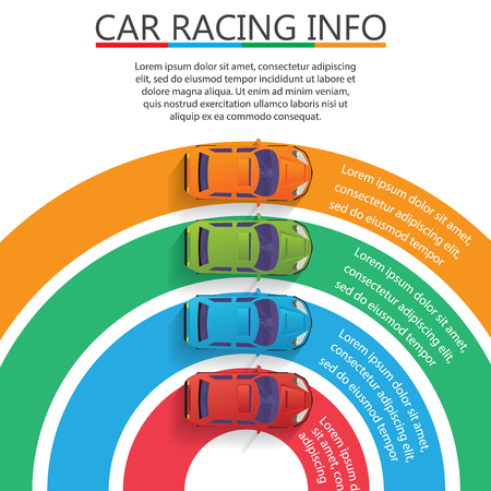 Four car on the color curve bar Vector for business information rendering