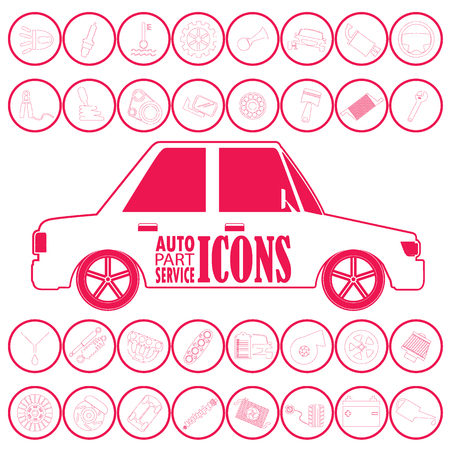 Car mechanic with flat icons tools and spare parts vector icons style