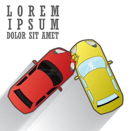 upside: car crash road accident. Flat style vector illustration isolated on white background.