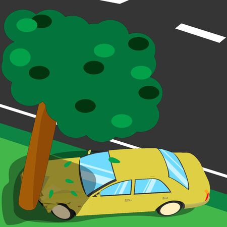 upside: Car crash with a big tree beside the road illustration on color vector design