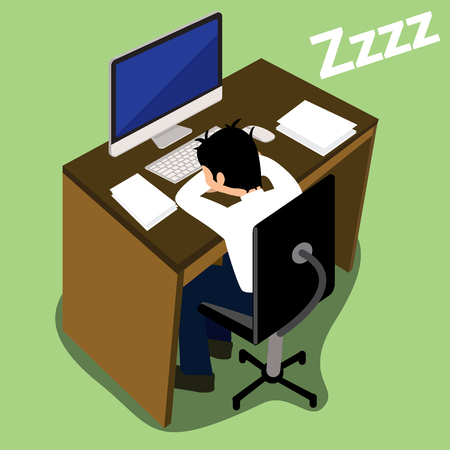 sleepiness: Exhausted businessman falling asleep at his office desk vector design
