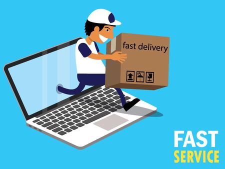 Online delivery sending parcel flat vector style. Illustration