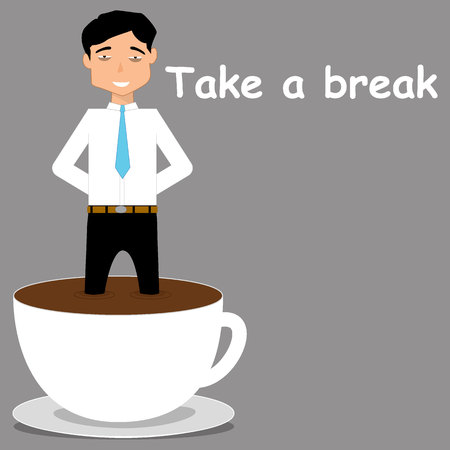bathe mug: Business man wait for command and strict in coffee cup. flat vector design.