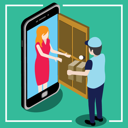 send parcel front the door that looks like a smart phone and gives the parcel to the customer.