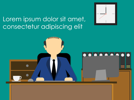 undertake: Businessman sitting in his workplace solemnly. wide Vector style